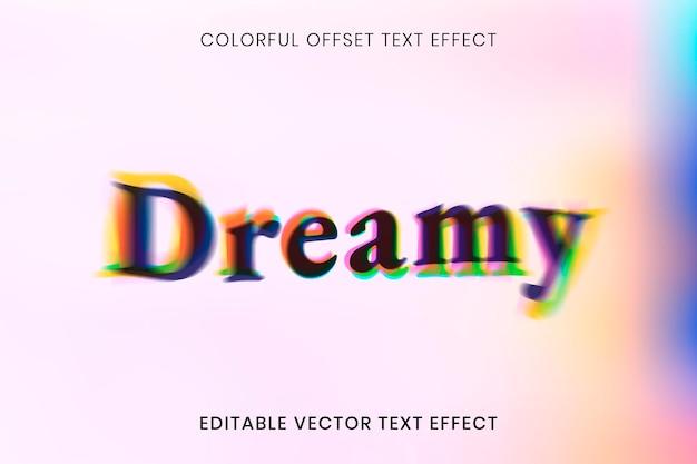 Edytowalny szablon wektora efektu tekstu, kolorowa czcionka offsetowa