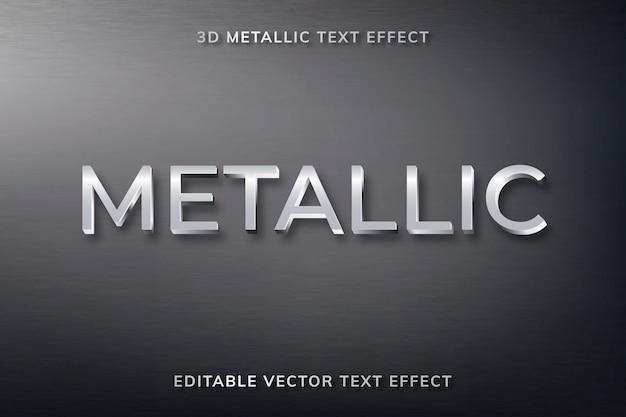 Edytowalny szablon wektorowy efektu metalicznego tekstu