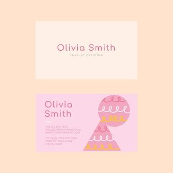 Edytowalny szablon wizytówki w delikatnym różowym kolorze