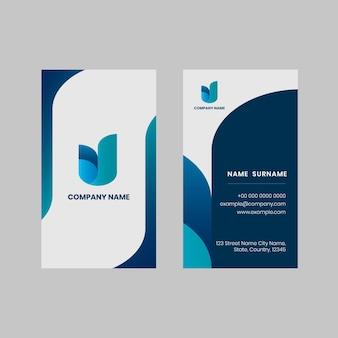 Edytowalny szablon wizytówki w kolorze niebieskim i białym