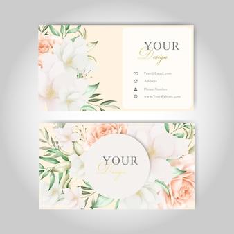 Edytowalny szablon wizytówki z eleganckimi kwiatami i liśćmi