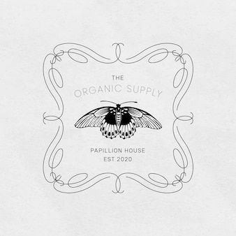 Edytowalny szablon z logo motyla w stylu vintage