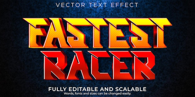 Edytowalny szybki i sportowy styl tekstu wyścigu