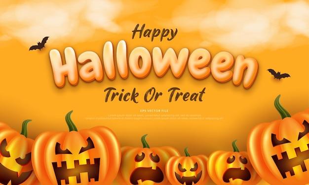 Edytowalny tekst halloweenowe tło w płaskiej konstrukcji z dynią i bat