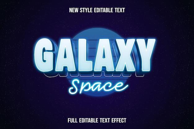 Edytowalny tekst przestrzeni galaktyki kolor biały i niebieski