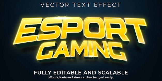 Edytowalny tekst w grach esport, sport i styl tekstu światła