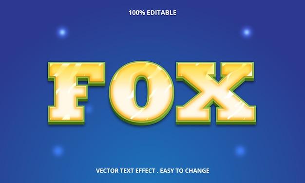 Edytowalny tytuł lisa efekt tekstowy na niebieskim tle
