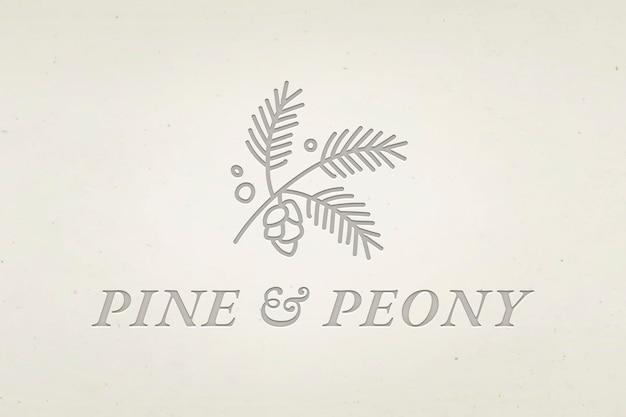 Edytowalny wektor logo firmy z tekstem sosny i piwonii