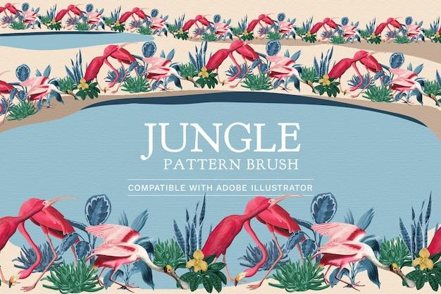 Edytowalny wektor pędzla z wzorem flaminga w dżungli zgodny z ai