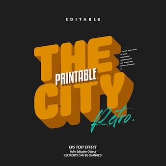 Edytowalny wektor premium z efektem tekstowym city retro bold