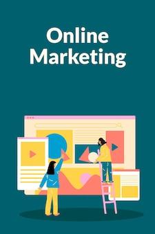 Edytowalny wektor szablonu marketingu online w płaskiej konstrukcji