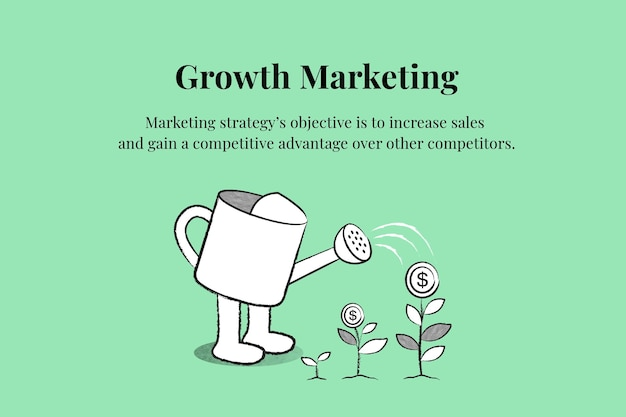 Edytowalny wektor szablonu marketingu wzrostu z konewką doodle ilustracja biznesowa
