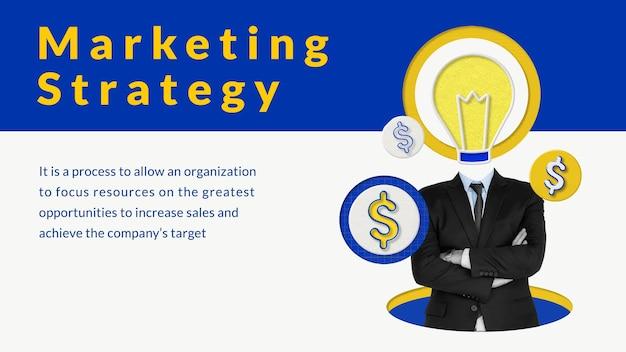 Edytowalny wektor szablonu strategii marketingowej z remiksowanymi mediami biznesmena i żarówki