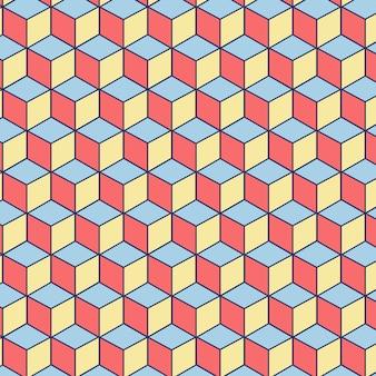 Edytowalny wzór wykonany z kwadratów różowy, niebieski i żółty