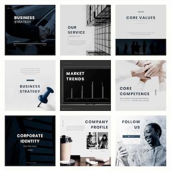 Edytowalny zestaw szablonów marketingu w mediach społecznościowych
