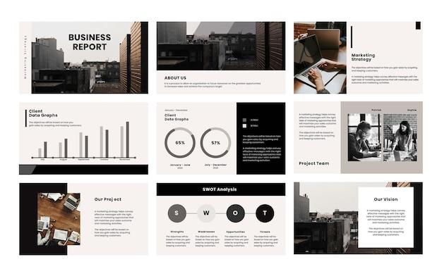 Edytowalny zestaw szablonów prezentacji raportu biznesowego