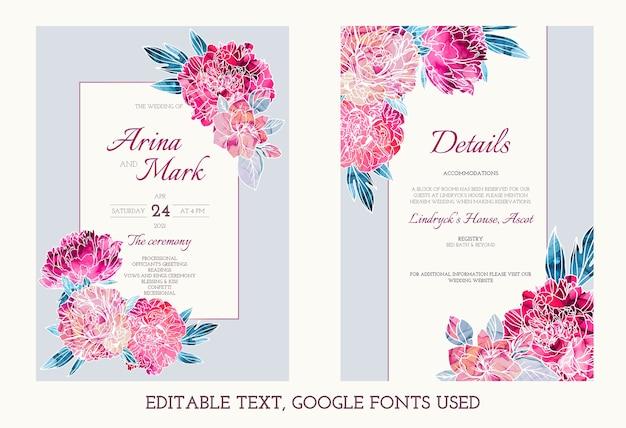 Edytowalny zestaw zaproszeń ślubnych ozdobiony ręcznie malowanymi tuszami alkoholowymi