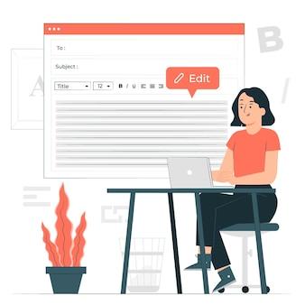 Edytowanie ilustracji koncepcji tekstu podstawowego