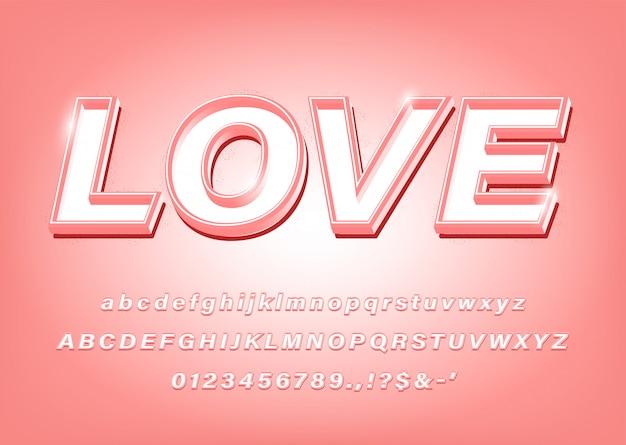 Efekt 3d pink alphabet love bold font dla tytułu