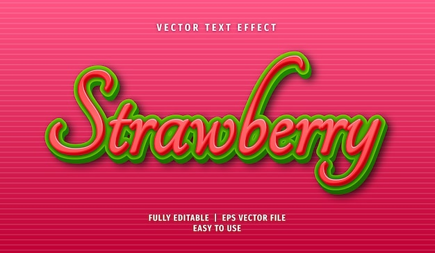 Efekt 3d strawberry text, edytowalny styl tekstu