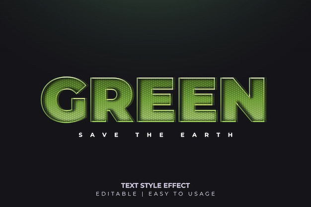 Efekt 3d zielony styl tekstu ze świecącymi liniami
