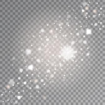 Efekt białych, błyszczących gwiazd na przezroczystym tle. realistyczne świecące światło do dekoracji.