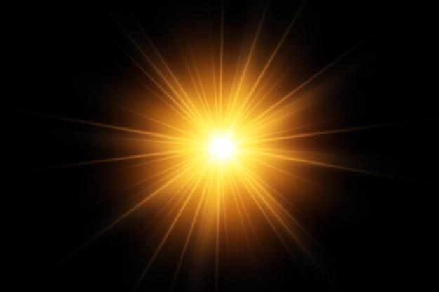 Efekt blasku. gwiazda na przezroczystym tle. jasne słońce. ilustracja.