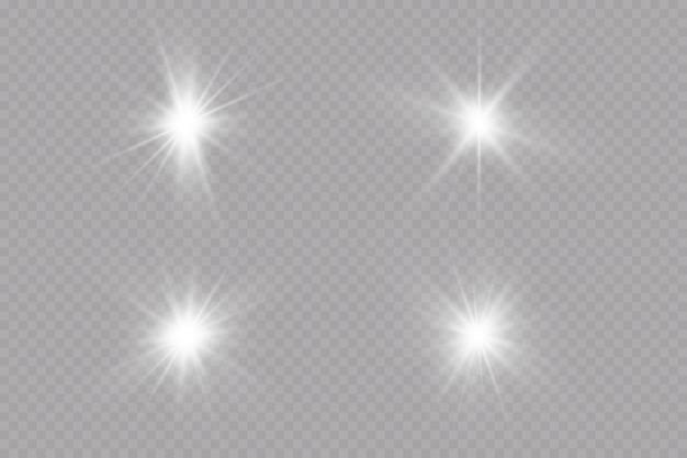 Efekt blasku gwiazda na przezroczystym tleilustracja wektorowa jasnego słońca