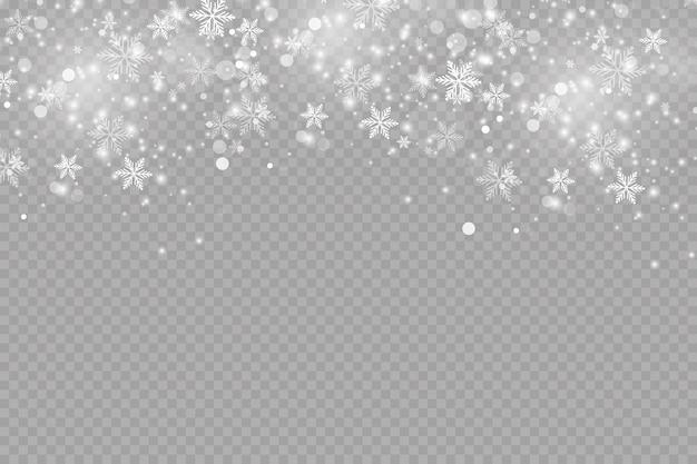 Efekt blasku. ilustracja. błysk świątecznego pyłu. pada śnieg. płatki śniegu.