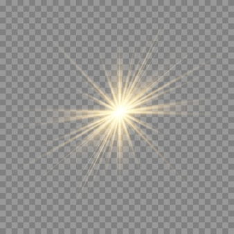 Efekt blasku światła. wybuch gwiazdy z iskierkami.sun.