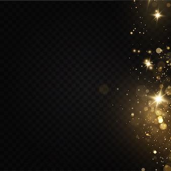 Efekt blasku świetlnego: błyszczące magiczne cząsteczki pyłu, iskry pyłu i złote gwiazdy.