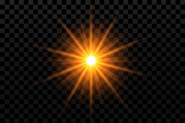 Efekt blasku złota gwiazda na przezroczystym tle
