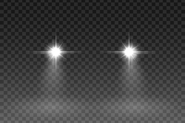 Efekt błysku światła samochodu na przezroczystym tle. ilustracji wektorowych.