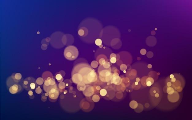 Efekt bokeh na ciemnym tle. boże narodzenie świecący ciepły złoty brokat element do projektowania. ilustracja