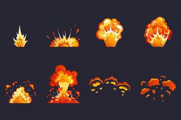 Efekt bomu. efekt wybuchu kreskówki. efekt wybuchu z dymem, płomieniem i cząsteczkami. dynamit, bomba atomowa, dym po wybuchu.