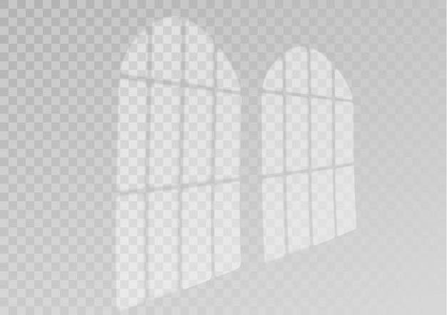 Efekt cienia nakładki. przezroczysta nakładka na okno i rolety cień. realistyczny efekt świetlny cieni i naturalnego oświetlenia na przezroczystym tle. ilustracja