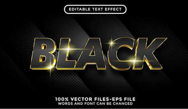 Efekt czarnego tekstu. edytowalny efekt tekstowy ze złotymi wektorami premium