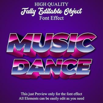 Efekt czcionki edytowalnej 3d muzyki retro