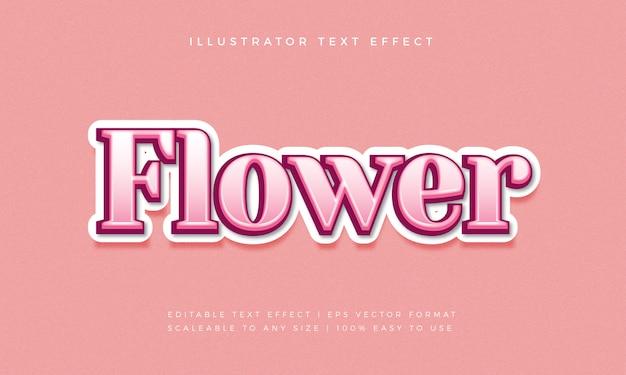 Efekt czcionki styl piękny różowy kwiat tekst