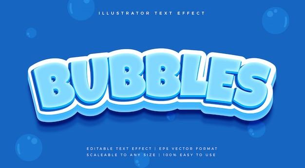 Efekt czcionki stylu tekstu niebieskich bąbelków