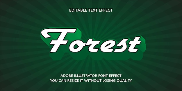 Efekt czcionki tekstu wektorowego lasu