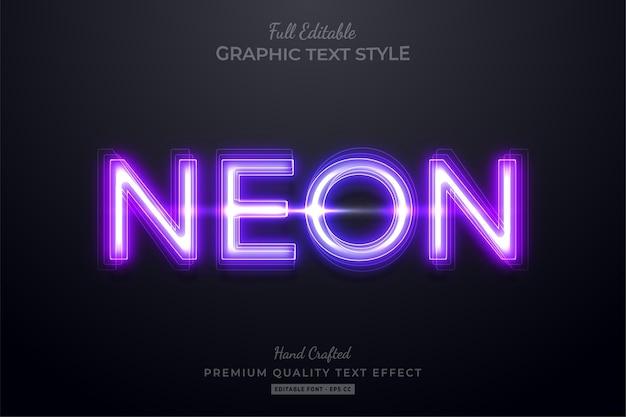Efekt edycji tekstu w stylu neonowym fioletowym