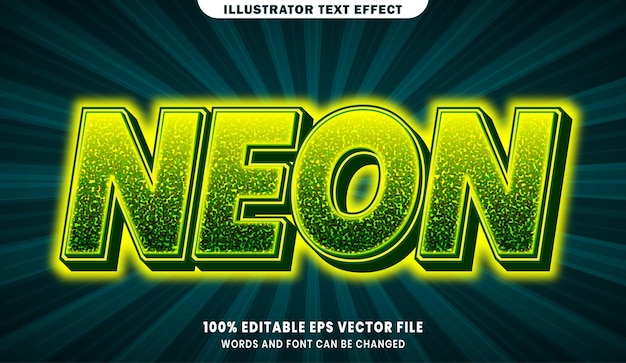 Efekt edytowalnego stylu tekstu 3d neon