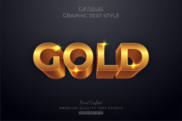 Efekt edytowalnego stylu tekstu gold shine