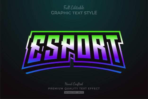Efekt edytowalnego stylu tekstu gradientu esport