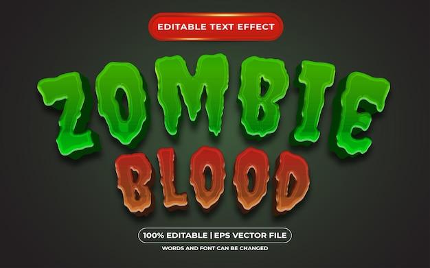Efekt edytowalnego tekstu krwi zombie odpowiedni dla motywu halloweenowego