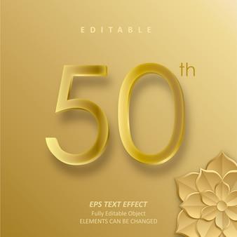 Efekt edytowalnego tekstu luxury number gold