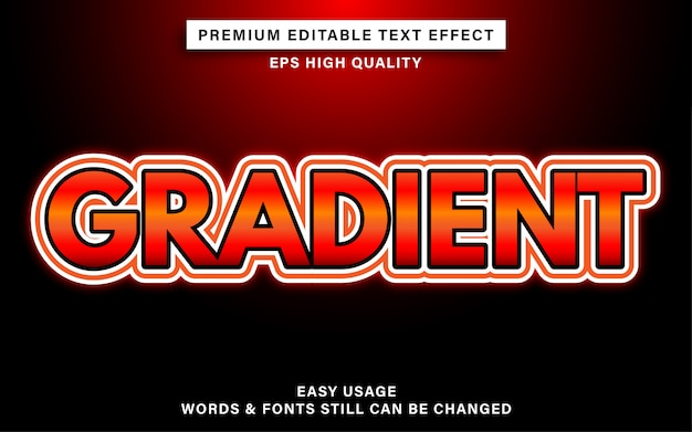 Efekt edytowalnego tekstu z czerwonym gradientem