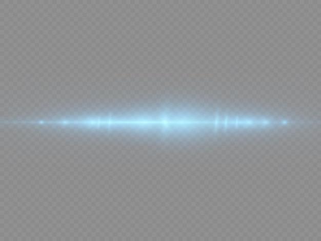 Efekt flary niebieskiej linii poziome wiązki laserowe promienie świetlne świecące smugi pakiet niebieskich flar soczewek