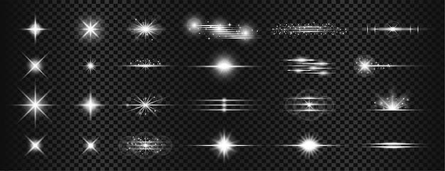 Efekt flary soczewki w postaci białych przezroczystych smug światła